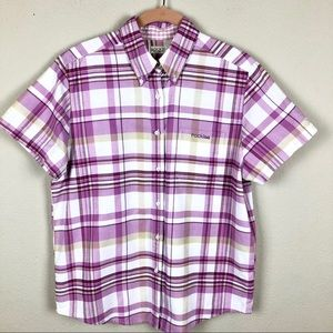 Rockies Purple Plaid Oxford Short Sleeve M